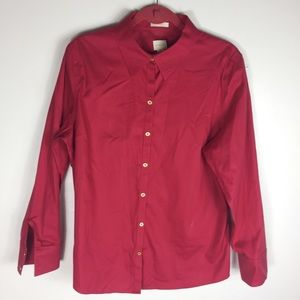 Chico's Red Button Front Gold XL Oxford Chic Top